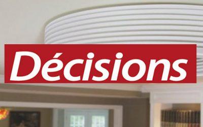Le 1er ventilateur de plafond sans pâles – Décisions